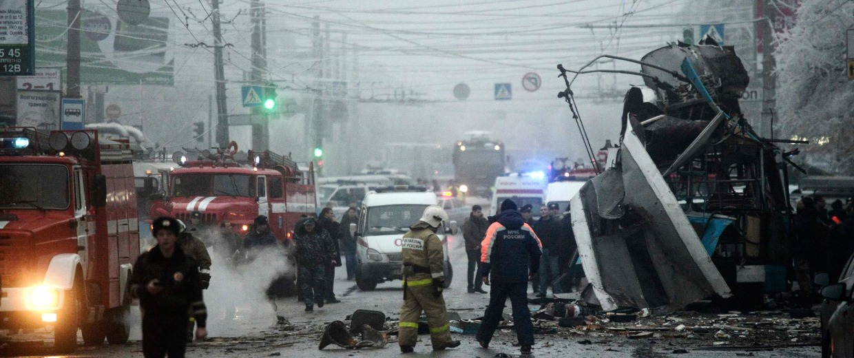Image: Members of the emergency services work at the site of a bomb blast on a trolleybus in Volgograd, on Dec. 30.