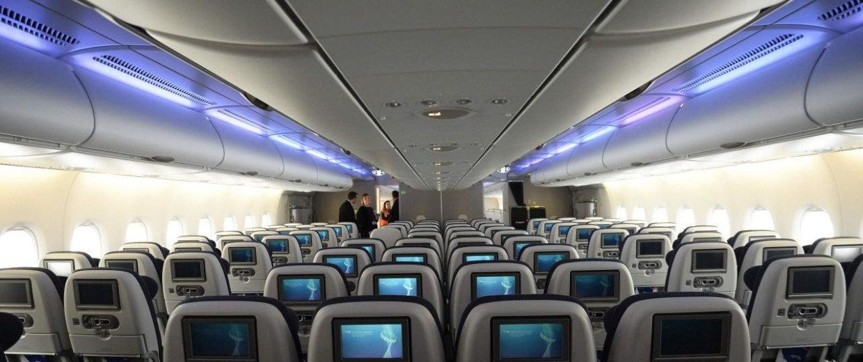 A world traveller cabin is seen in the British Airways Airbus A380 at Heathrow airport in London
