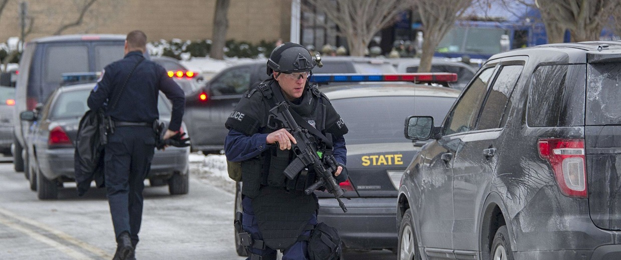 Image: Maryland State Police patrol the Columbia Mall after a fatal shooting on Saturday.