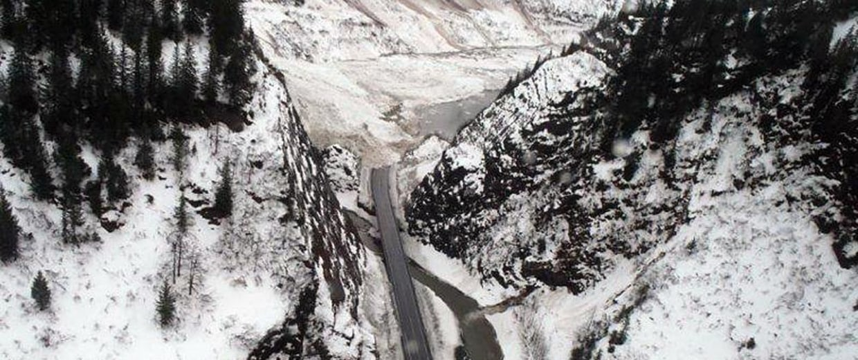 An avalanche blocked a stretch of Richardson Highway, the only road connecting Valdez to the rest of the Alaska highway system.