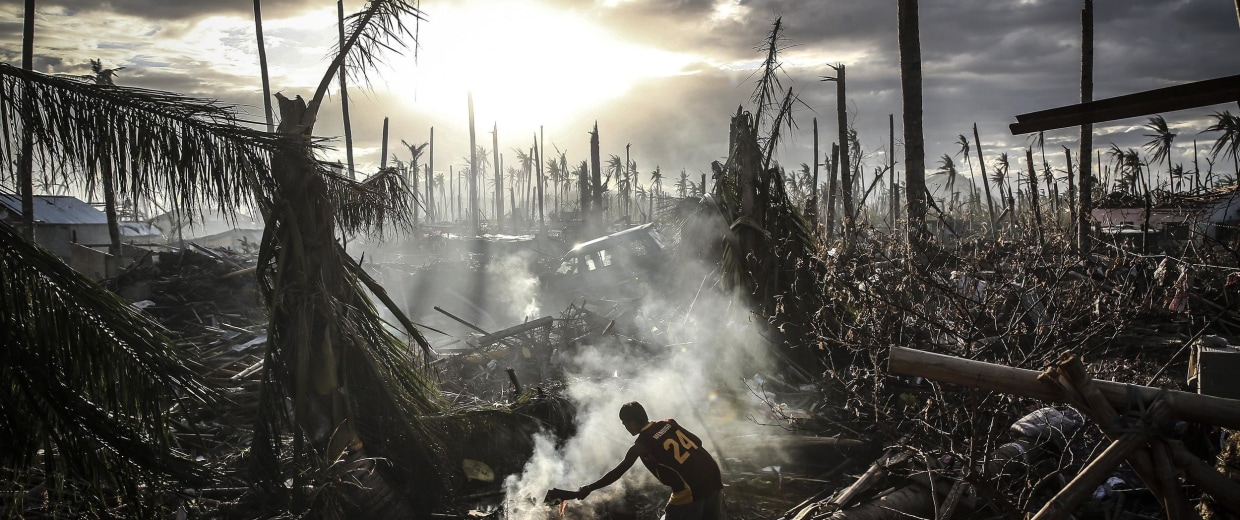 Devastation in Leyte, Philippines after Typhoon Haiyan ripped through the island nation last year. Extreme weather is one of the biggest risks to world economies.