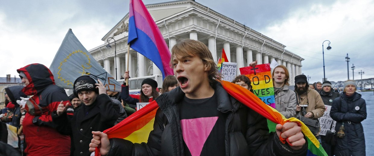 """Gay activists take part in a protest event called """"March against Hatred"""" in St. Petersburg"""