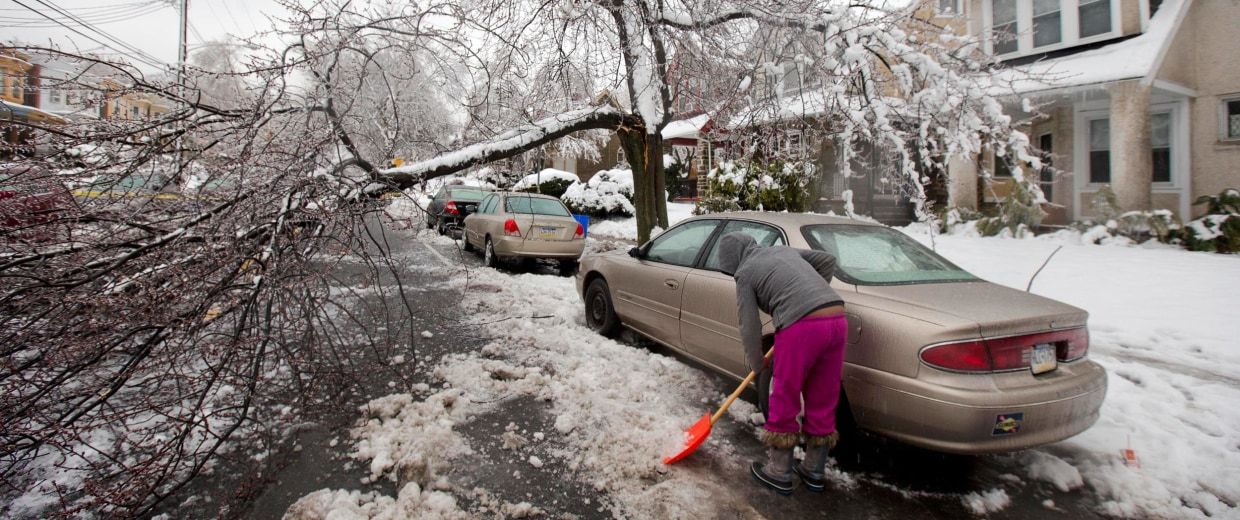 Image: A woman clears snow near a downed tree limb after a winter storm