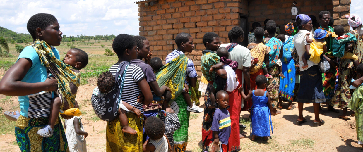 Image: Mothers and their children line up at a field clinic in Chiradzulu, Malawi.