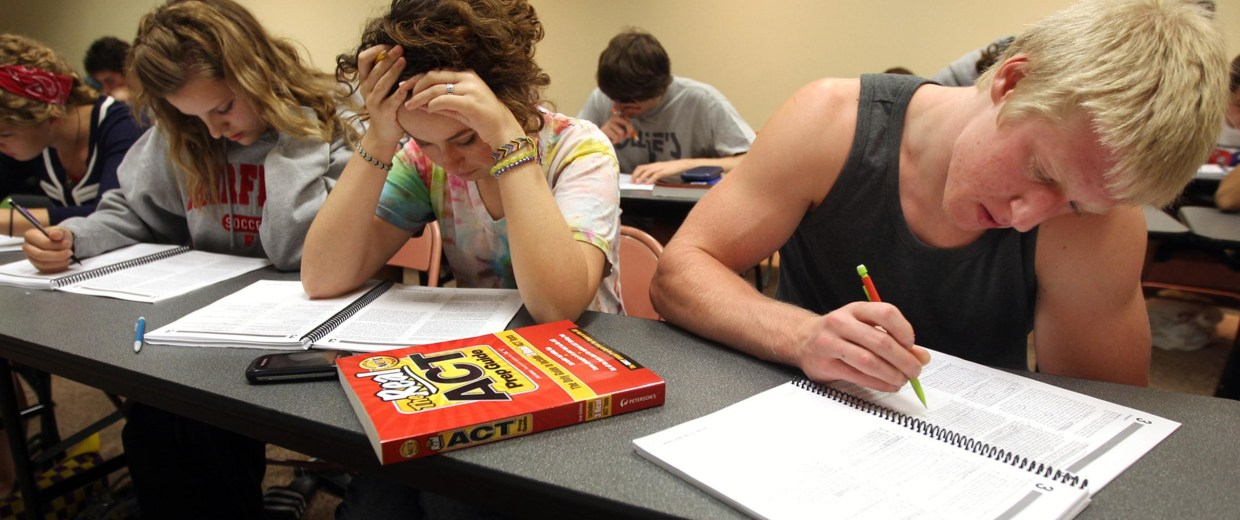 Image: High school students work on a practice test at the ACT Boot Camp in Newport, Ky.