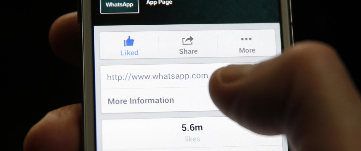 Image: A Whatsapp App page is seen on Facebook on a Samsung Galaxy S4 phone in the central Bosnian town of Zenica