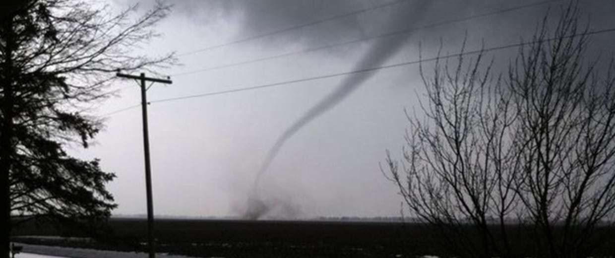 Image: A funnel appears to touch the ground near Concord, Ill., on Thursday.