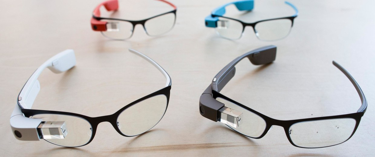 Image: The new Google Glass prescription frames rest on a table at the Google Glass Basecamp space at Chelsea Market