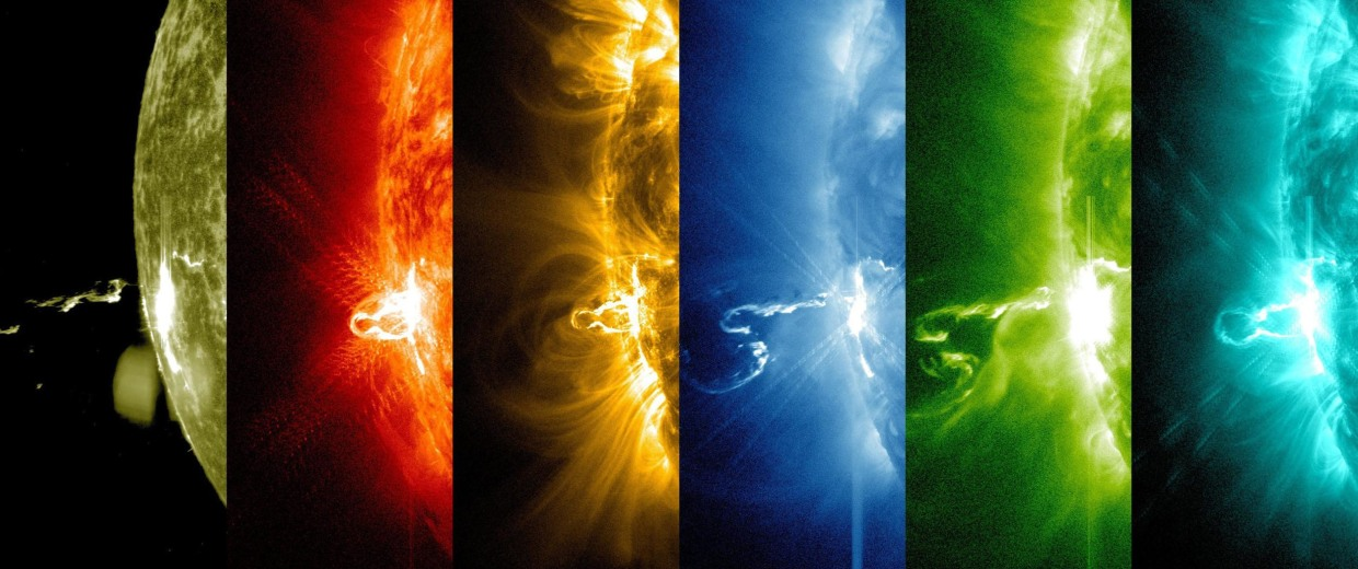 Image: First moments of a Solar flare in different wavelengths of light