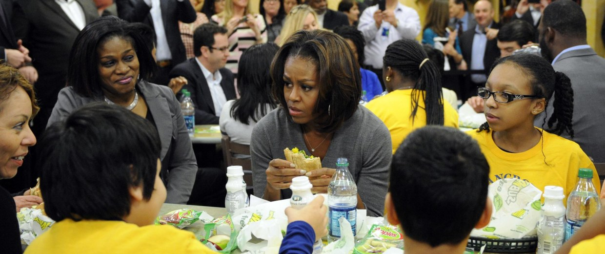 Michelle Obama has spearheaded moves to ban junk food ads in schools, but classroom technology may thwart her efforts.