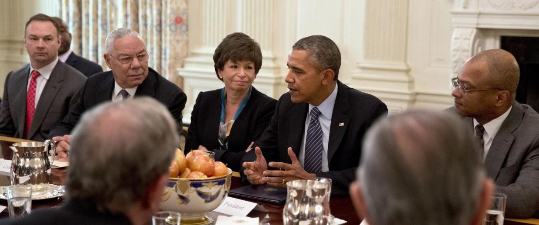 Image: Barack Obama, Valerie Jarret, Colin Powell