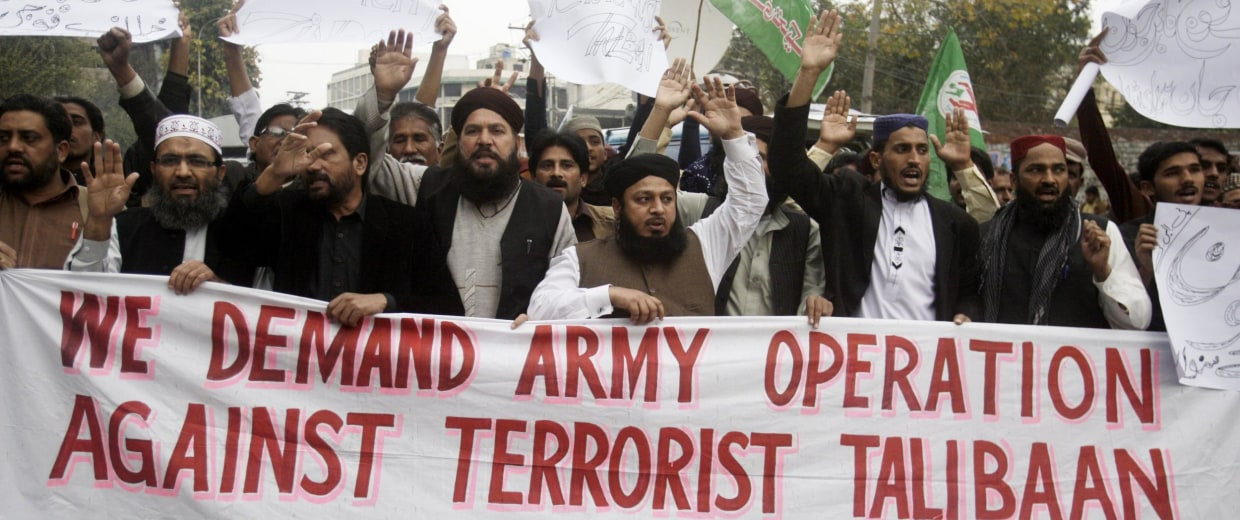 Image: Anti-Taliban protesters in Lahore, Pakistan, on Friday