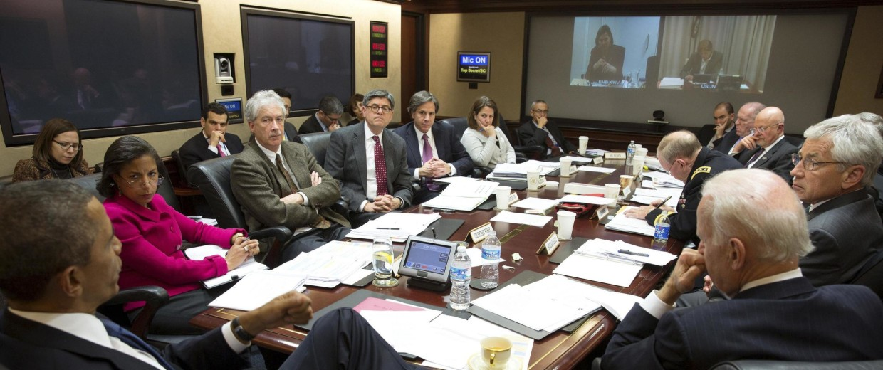 Image: U.S. President Barack Obama convenes a National Security Council meeting in the Situation Room of the White House in Washington