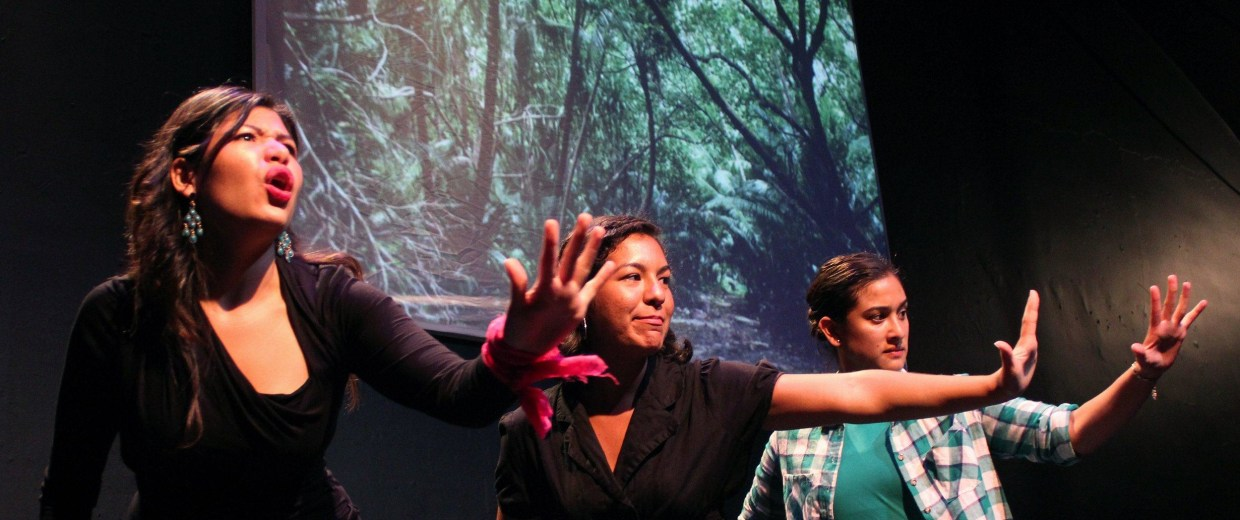 Members of Chicago's all-Latina theater, Teatro Luna, on stage.