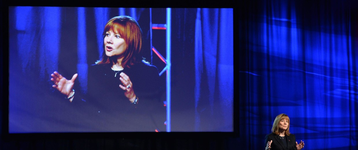 General Motors CEO Mary Barra speaks at the Detroit auto show Jan. 12.
