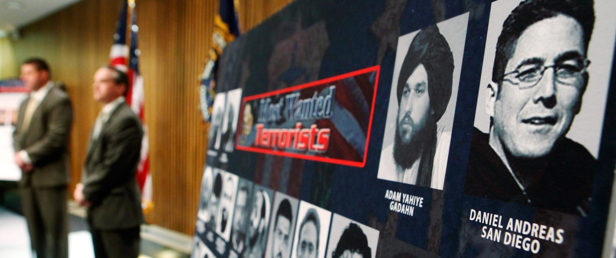 Image: A photo of Daniel Andreas San Diego, top right, appears on a poster of the FBI's most wanted terrorists