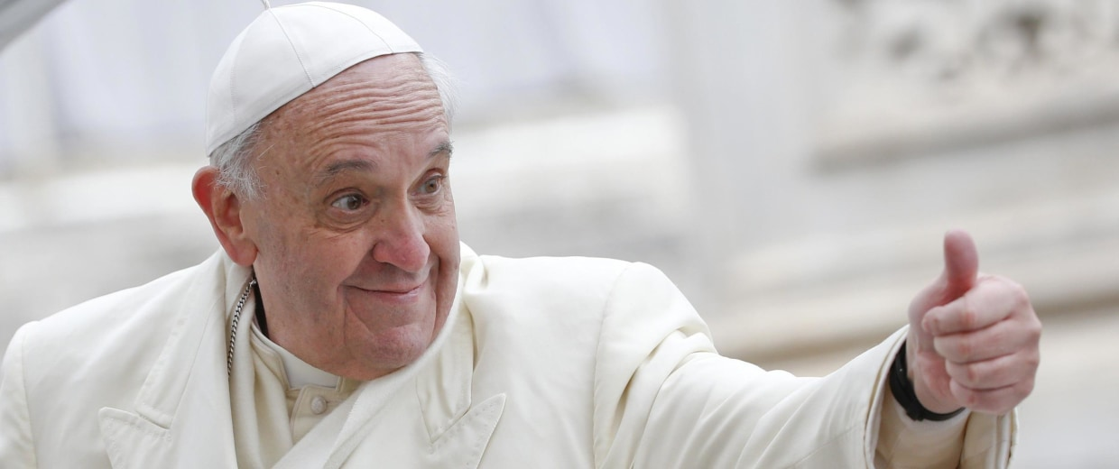 Image: Pope Francis gestures during the general audience in Saint Peter's Square at the Vatican