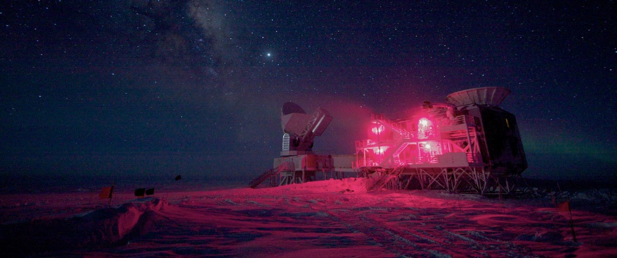 Image: South Pole Telescope and BICEP Telescope
