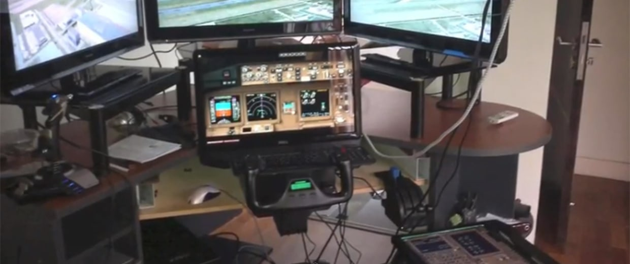 This framegrab taken from a YouTube video purports to show a photo of a  flight simulator originally posted to Facebook by Malaysia Airlines pilot Capt. Zaharie Ahmad Shah.
