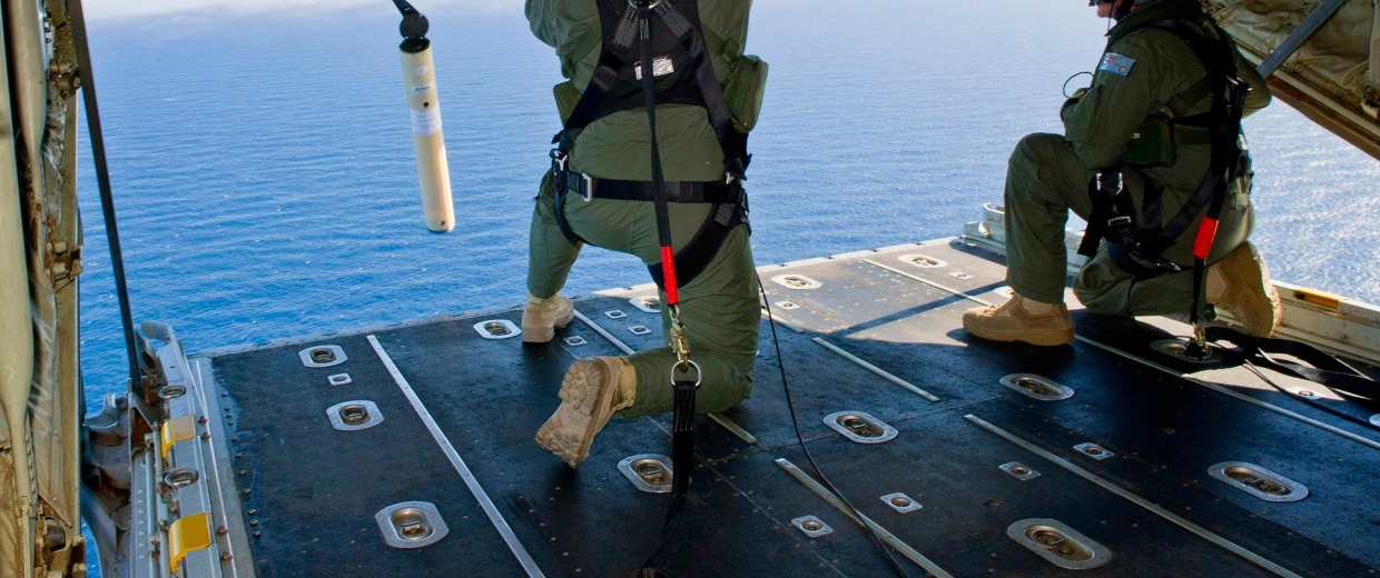 Image: Royal Australian Air Force (RAAF) Loadmasters launch a 'Self Locating Data Marker Buoy'