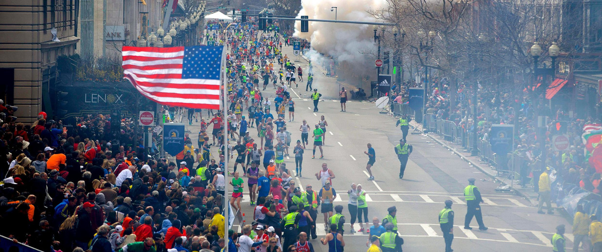 Image: A bomb explodes at the 117th Boston Marathon in 2013