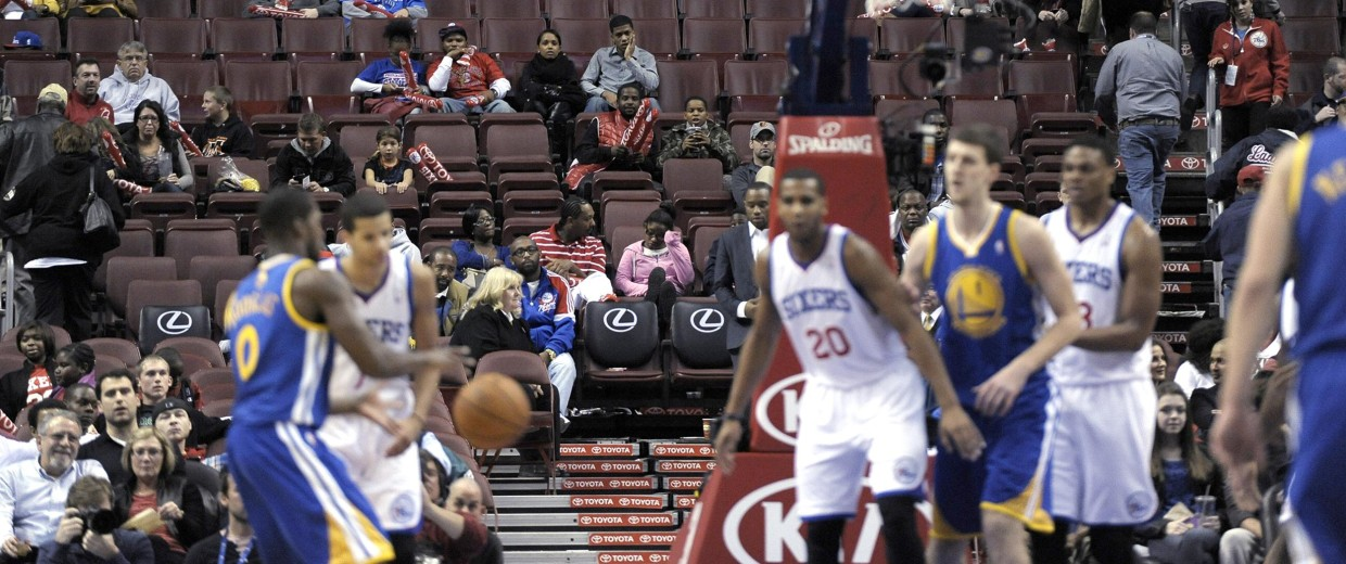 Image: Empty seats are seen during an NBA basketball game