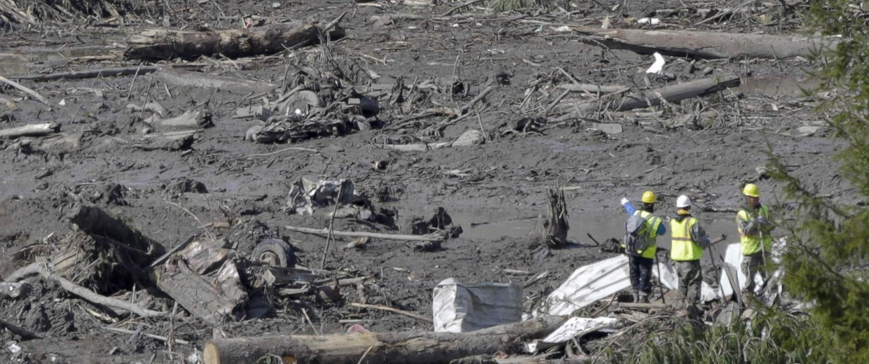 Image: Workers look on as search work continues in the mud and debris from a massive mudslide that struck Oso near Darrington, Washington