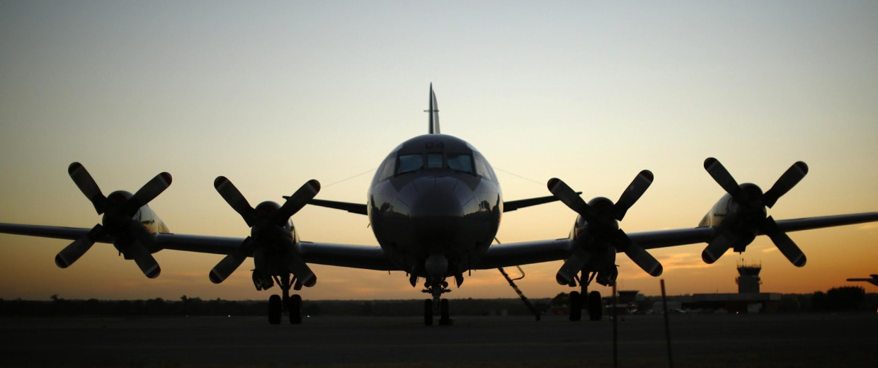 Image: A Royal Australian Air Force P-3C Orion aircraft is pictured on tarmac of RAAF Base Pearce near Perth