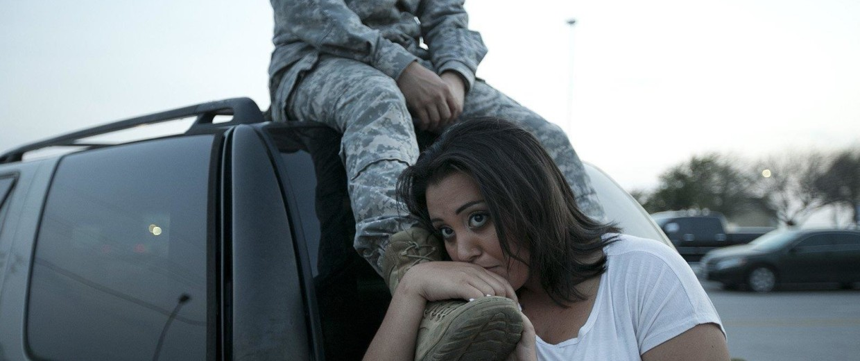Image: Luci Hamlin and her husband Specialist Timothy Hamlin wait to get back to their home on base at  Fort Hood