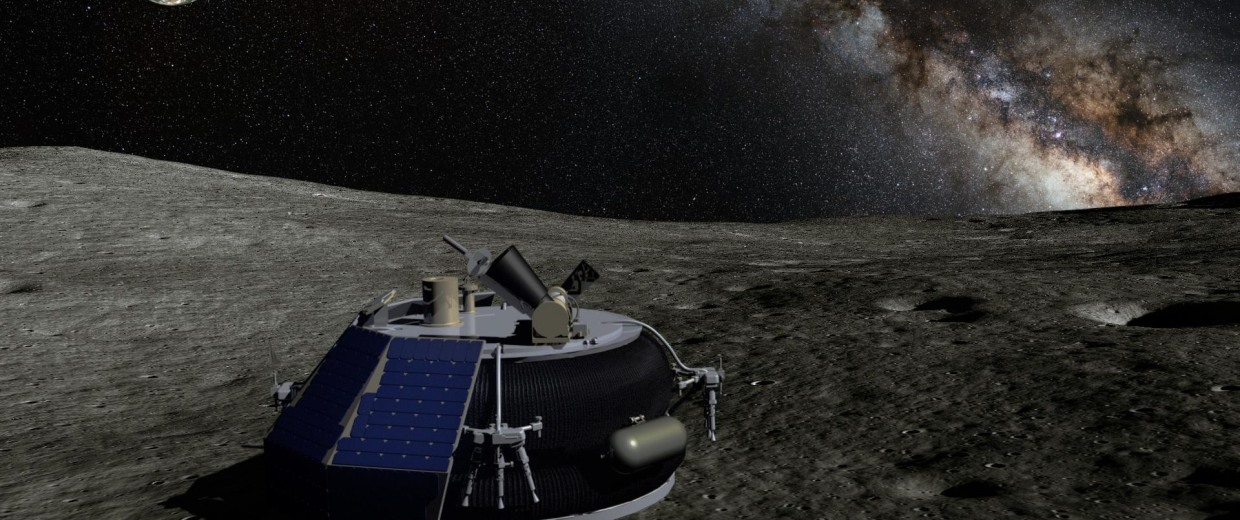 Artist's rendition of America's first private lunar microlander and commercial robot, developed by Moon Express.