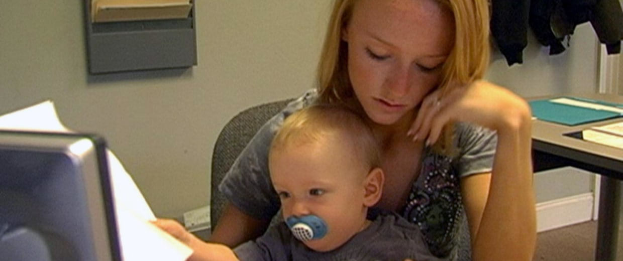 "Image: Teen mother Maci is shown with her son Bentley in a scene from the teen reality series, ""Teen Mom."""