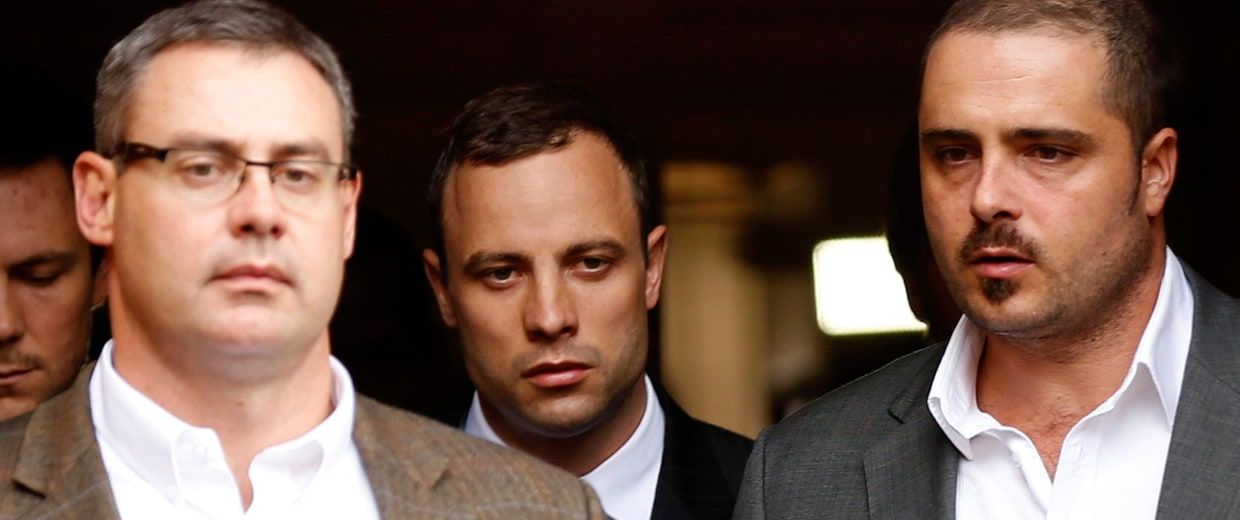 Image:  Oscar Pistorius leaves the North Gauteng High Court in Pretoria