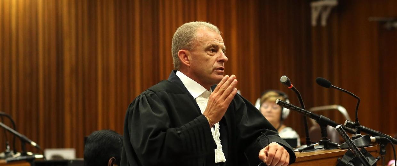 Image: State Prosecutor Gerrie Nel speaks during the Oscar Pistorius trial