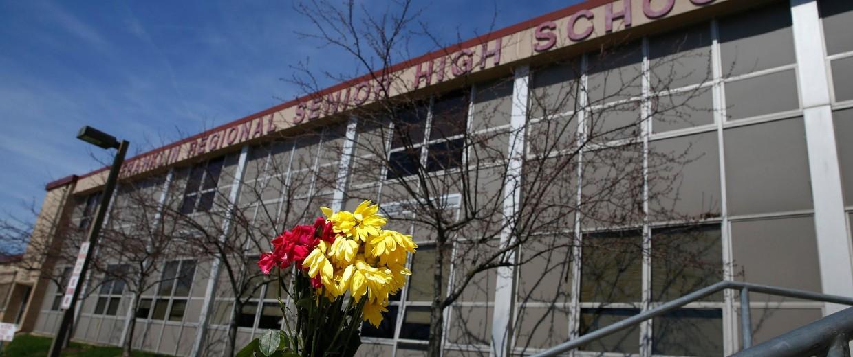 Image: Flowers are seen outside the Franklin Regional High School in Murrysville, Pa.