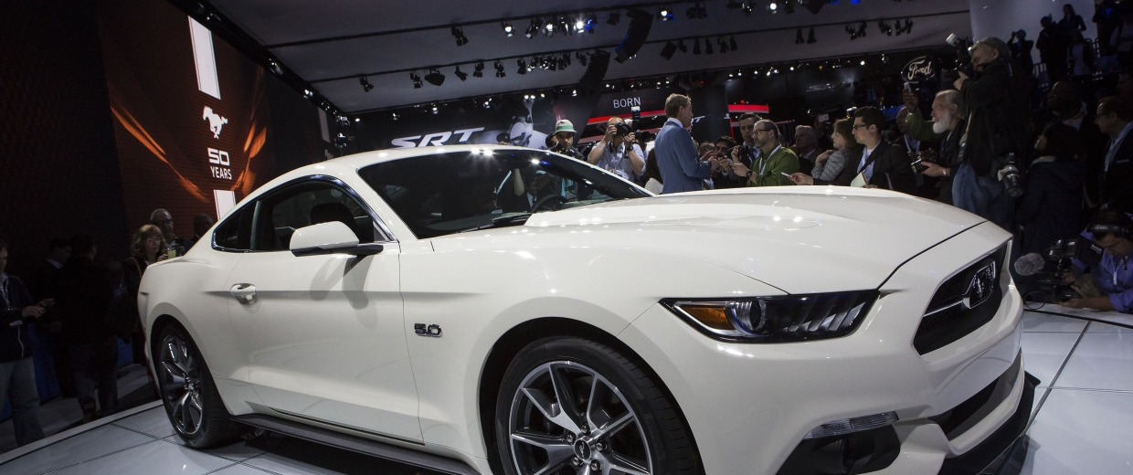 The 2015 50th anniversary Ford Mustang is introduced at the New York International Auto Show.