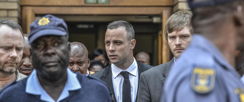 Image: Oscar Pistorius leaves court on Monday.