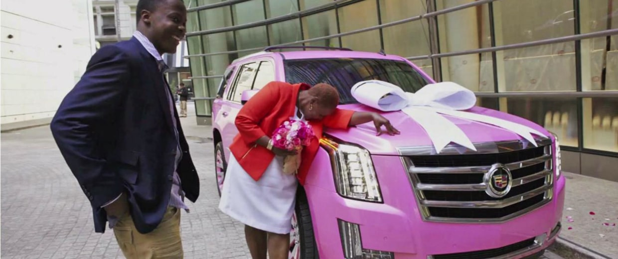 Teddy Bridgewater's mother is overwhelmed after receiving the gift of a pink Escalade from her son.