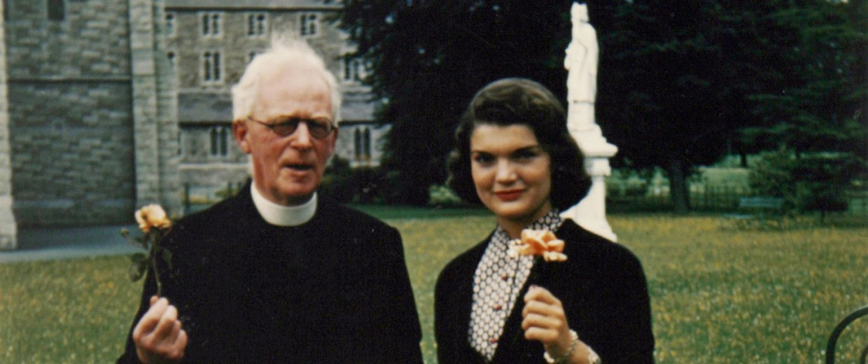 Jackie Kennedy - then Jacqueline Bouvier - with Father Joseph Leonard at All Hallows College in Dublin, Ireland in 1950.