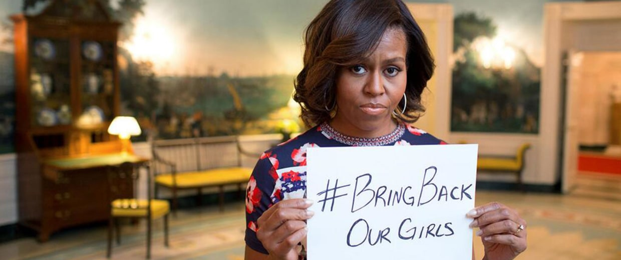 Image: First lady Michelle Obama holds a sign in support of the missing Nigerian girls