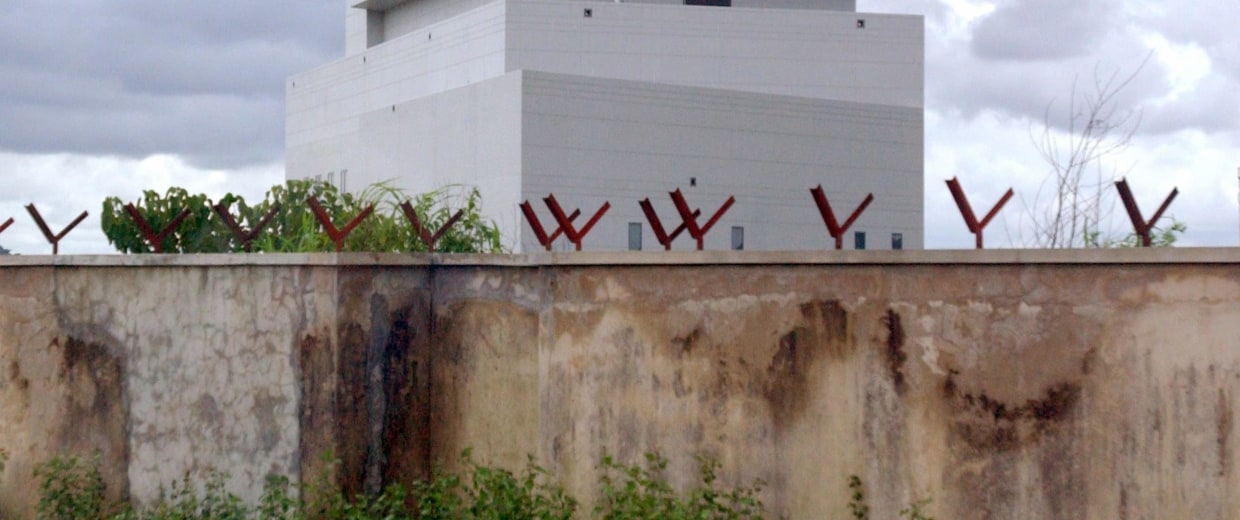 Image: The windowless U.S. embassy surrounded by thick walls in Abuja, the capital of Nigeria