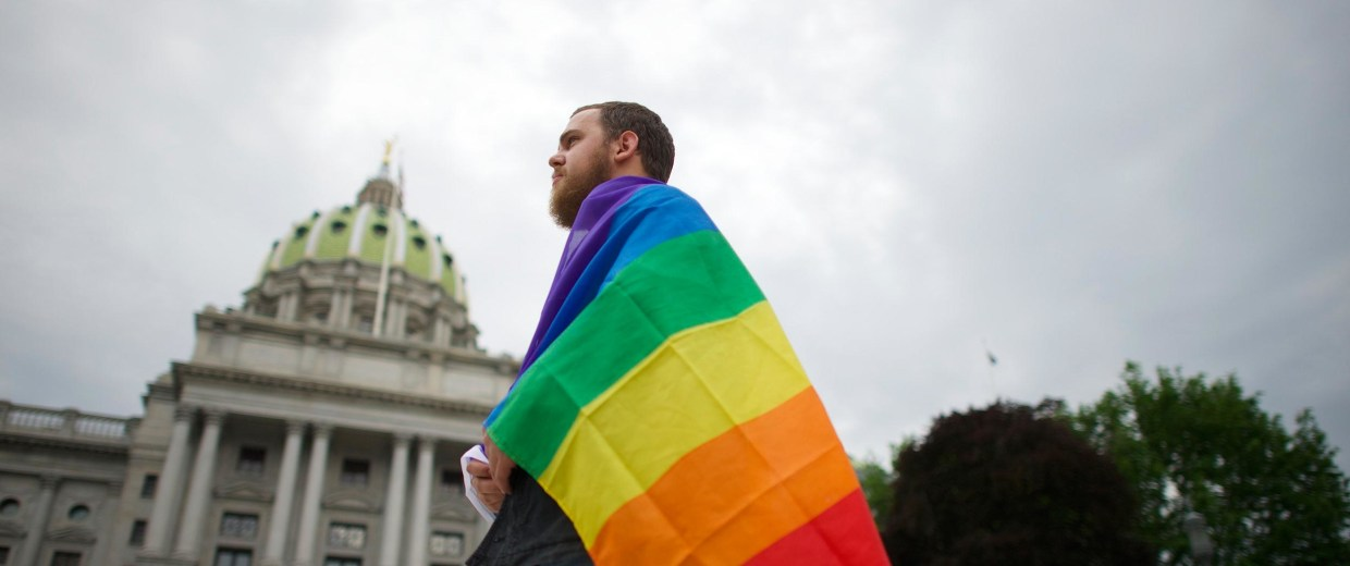 Image: Steve Krout remains on the Pennsylvania State Capital steps following a rally with gay rights supporters in Harrisburg