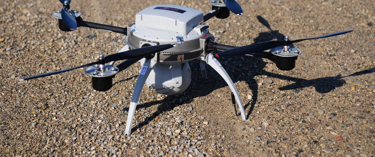 Image: The Aeryon Scout, a small droneused by public safety, commercial and industrial users to reliably collect high quality aerial imagery and data