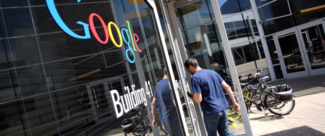 Image: The Google logo is seen at the Google headquarters in Mountain View, Calif.