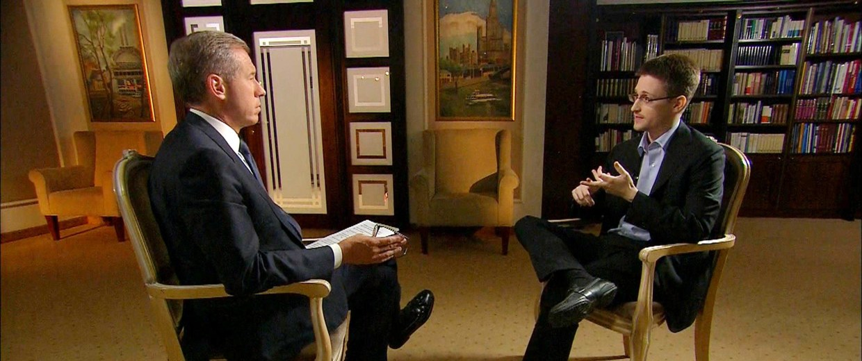 Image: Image: Edward Snowden speaks with Brian Williams in an NBC News exclusive interview.