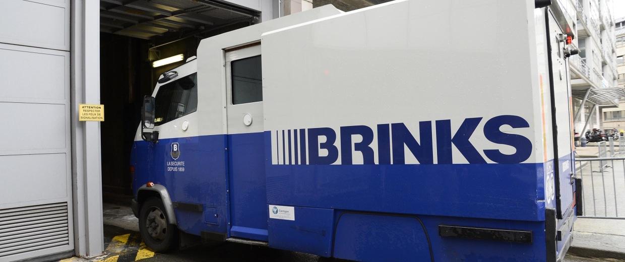 Image: A Brink's money transfer armored van in Paris on May 22
