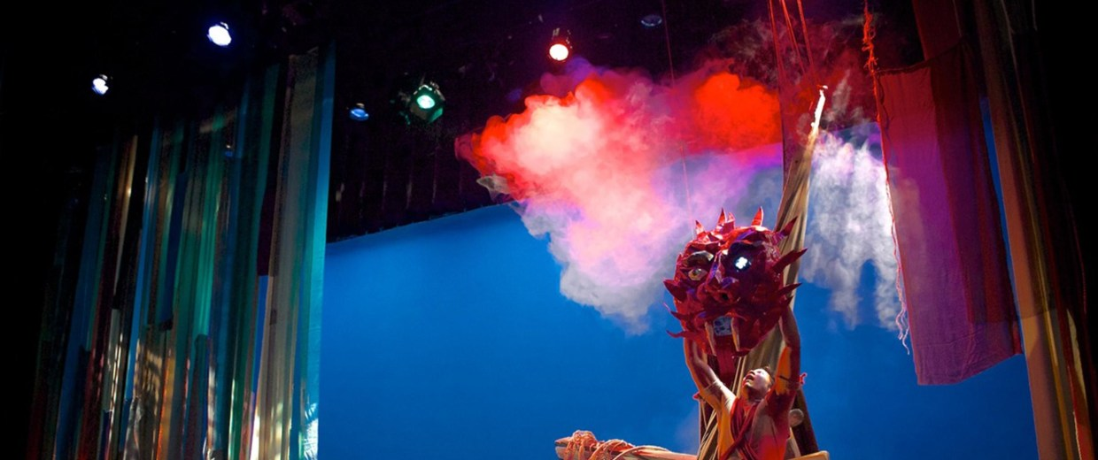 """Image: A scene from the theater production """"The Magic Rainforest: An Amazon Journey"""" at the Cara Mia Theater Co. in Dallas, Texas, May 2014"""