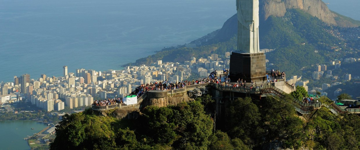 Image: An aerial view of the Christ the Redeemer statue