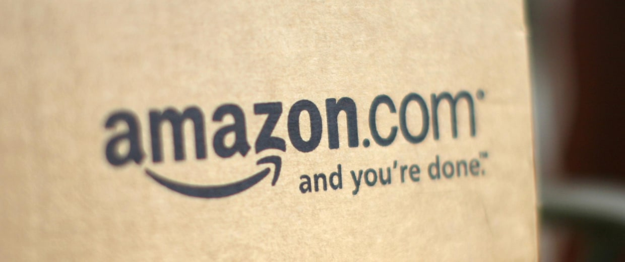 Image: A box from Amazon.com is pictured on the porch of a house in Golden, Colo. on July 23, 2008.