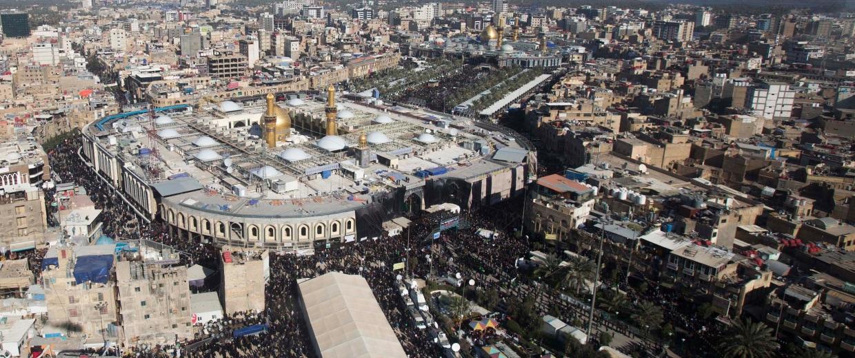 Image: The shrines of Shiite Muslim Imam Hussein and Imam Abbas in Karbala