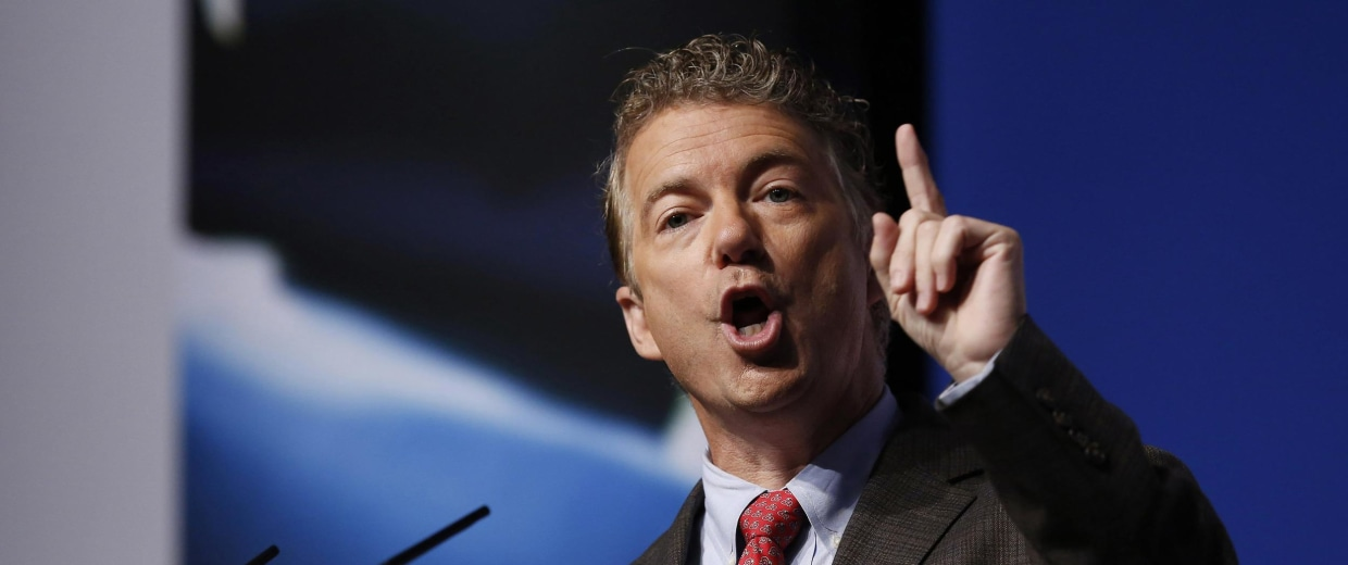 """Image: U.S. Sen. Rand Paul speaks during the second day of the 5th annual Faith & Freedom Coalition's """"Road to Majority"""" Policy Conference in Washington"""